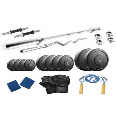 Protoner Weight Lifting Home Gym 52 Kg + 4 Rods (1 Curl)+ Gloves+ Rope+W. Band