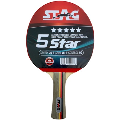 Stag 5 Star Table Tennis Racquet-Black And Red