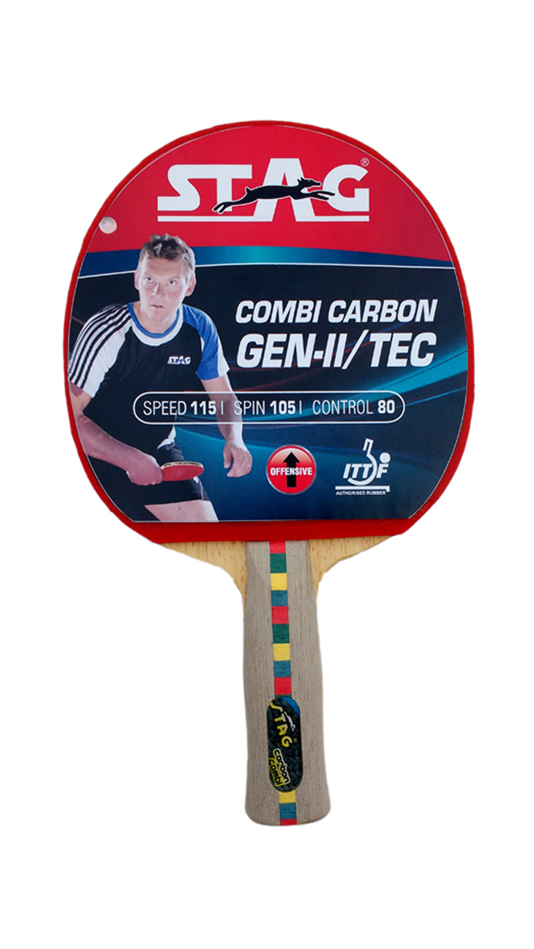 Stag Combi Carbon Gen Ii Tec Table Tennis Racquet-Black And Red