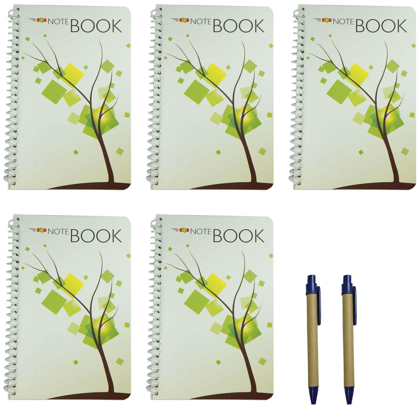 Bluto set of 5 Spiral Notebook 50 High-quality Pages with 2 cardboard pens (Assorted Cover Design)