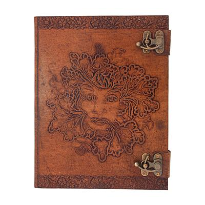 Face Emboss Leather With Lock Diary