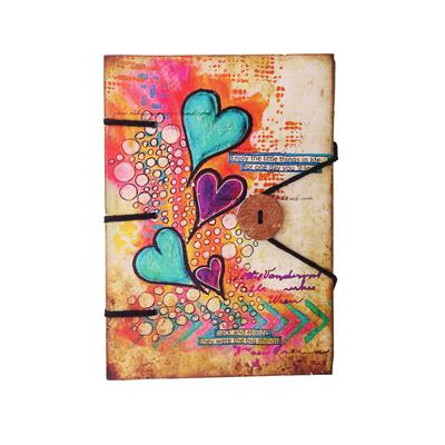 Heart Print Special Binding With Button