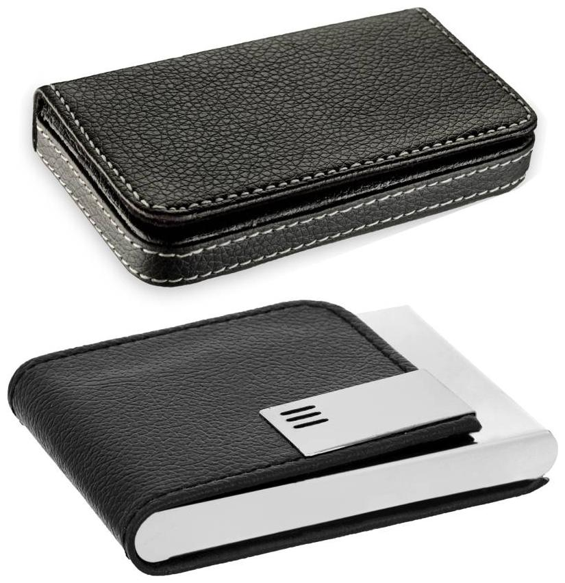 Pack of 2 | Stylish Full Black Leatherite and Leatherite piece Silver Metal Business 1101 Credit/debit/ATM/ID/Visiting SUPER SLEEK, STURDY 10 Card Holder (Set of 2, Black)