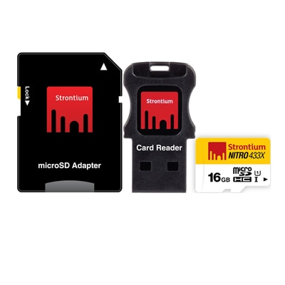Strontium 16GB Nitro Micro SD Card 65MB/S (3in1) (Black & White)
