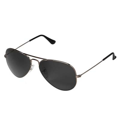 David-Martin Silver & Black Aviator Sunglass (UV Protected) (Medium Size)