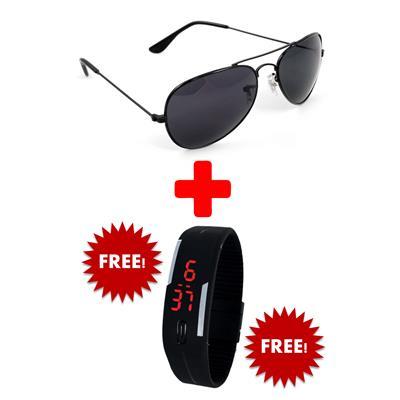 Super-X Black Aviator Sunglass+Free Digital Watch (UV Protected) (Medium Size)