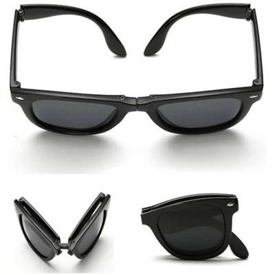 Austin Folding Black Wayfarer Sunglass (UV Protected)