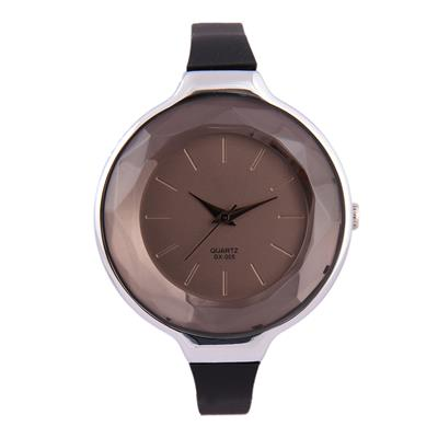 3WISH Women's Analog Black Crystal Dial Wrist Watch With Black Rubber Strap
