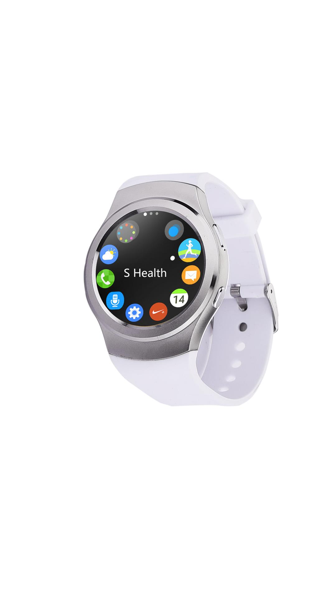 Bingo C4 White Smartwatch With Sim Support Full Disc Screen Touch -Android & IOS Support