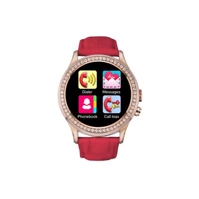 Bingo Red C2 With Leather Removable Strap & Bluetooth Connectivity Smartwatch