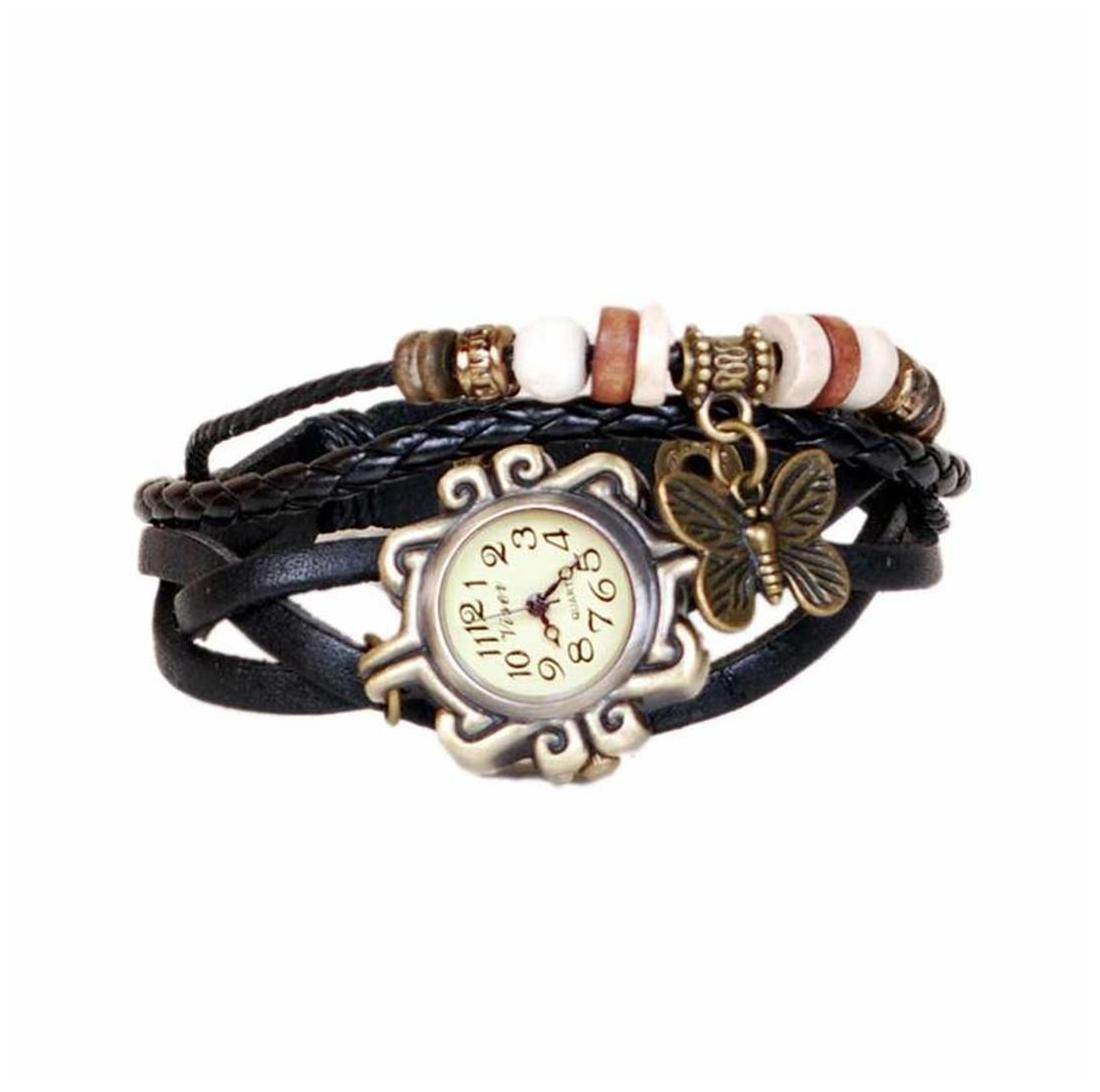 Black designeer leather watch watch