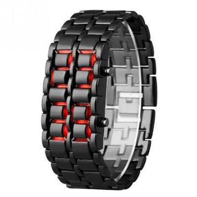 Black Red Led Metal digital women Watches