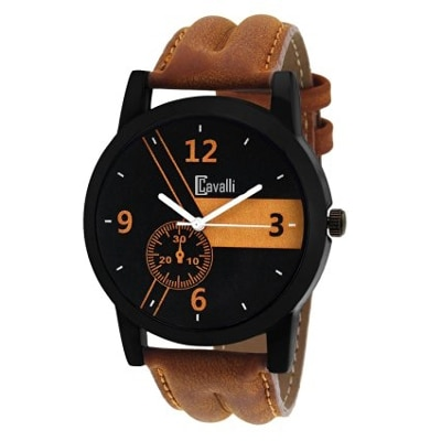 Cavalli Casual Analogue Tan Leather Strap Multicolour Dial Men's Watch Cw-333