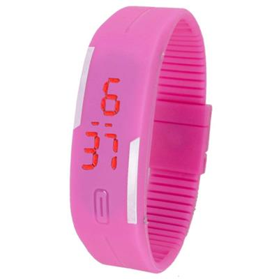 Led Digital Pink Women Rubber Watches