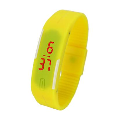 Led Digital Yellow Women Rubber Watches