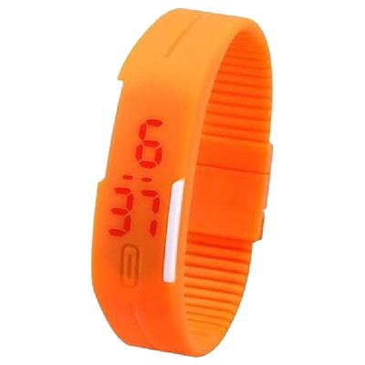 Led Digital Orange Women Rubber Watches