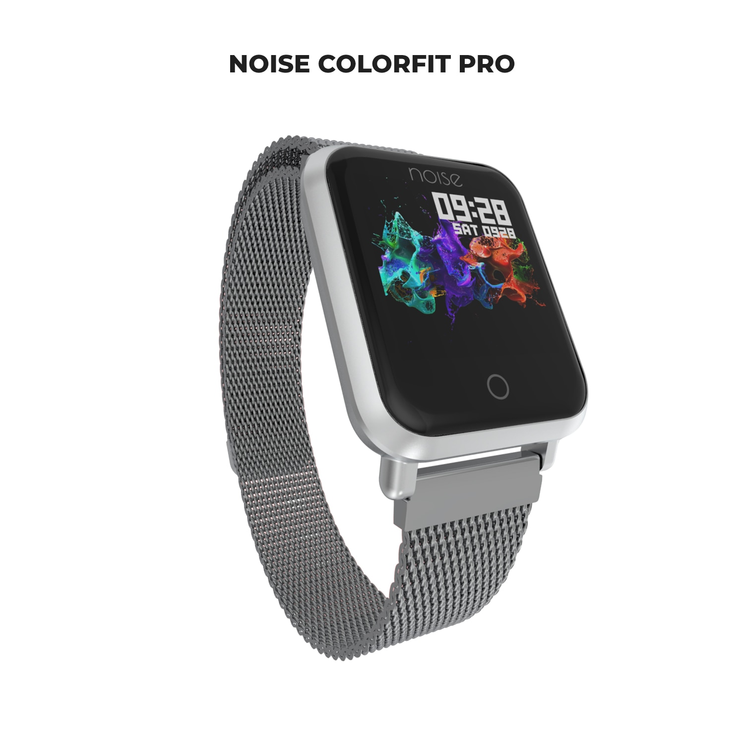 Noise Colorfit Pro Metallic Edition Smartwatch Luxe Metal Silver with Stainless Steel Magnetic Clasp Bracelet