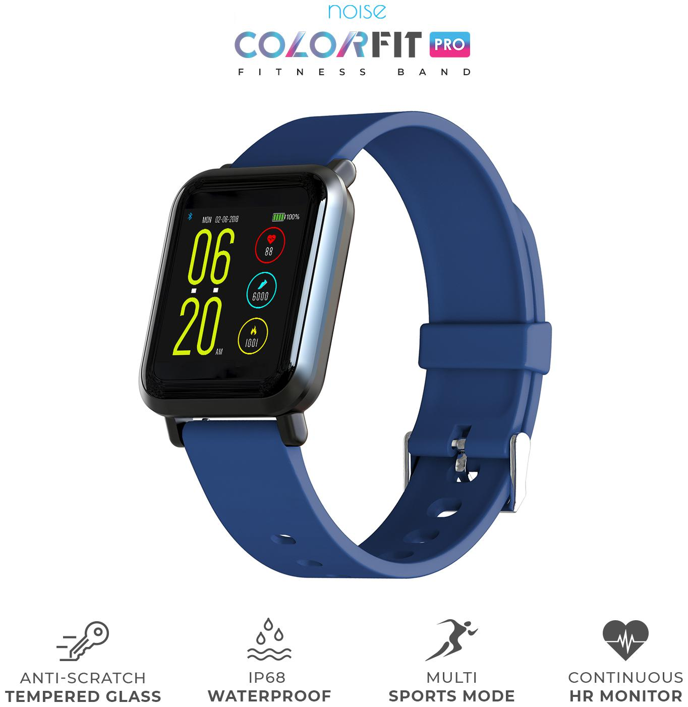 Noise ColorFit Pro Smartwatch - Classic Cool Blue | Bluetooth Smart Band with Detachable Strap | Wide Screen Waterproof | Sports and Activity Tracker | Camera and Music Control Features