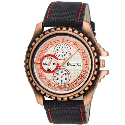 Roman Star RS_1127 Black Coloured With Black Leather Strap Quartz Watch For Men