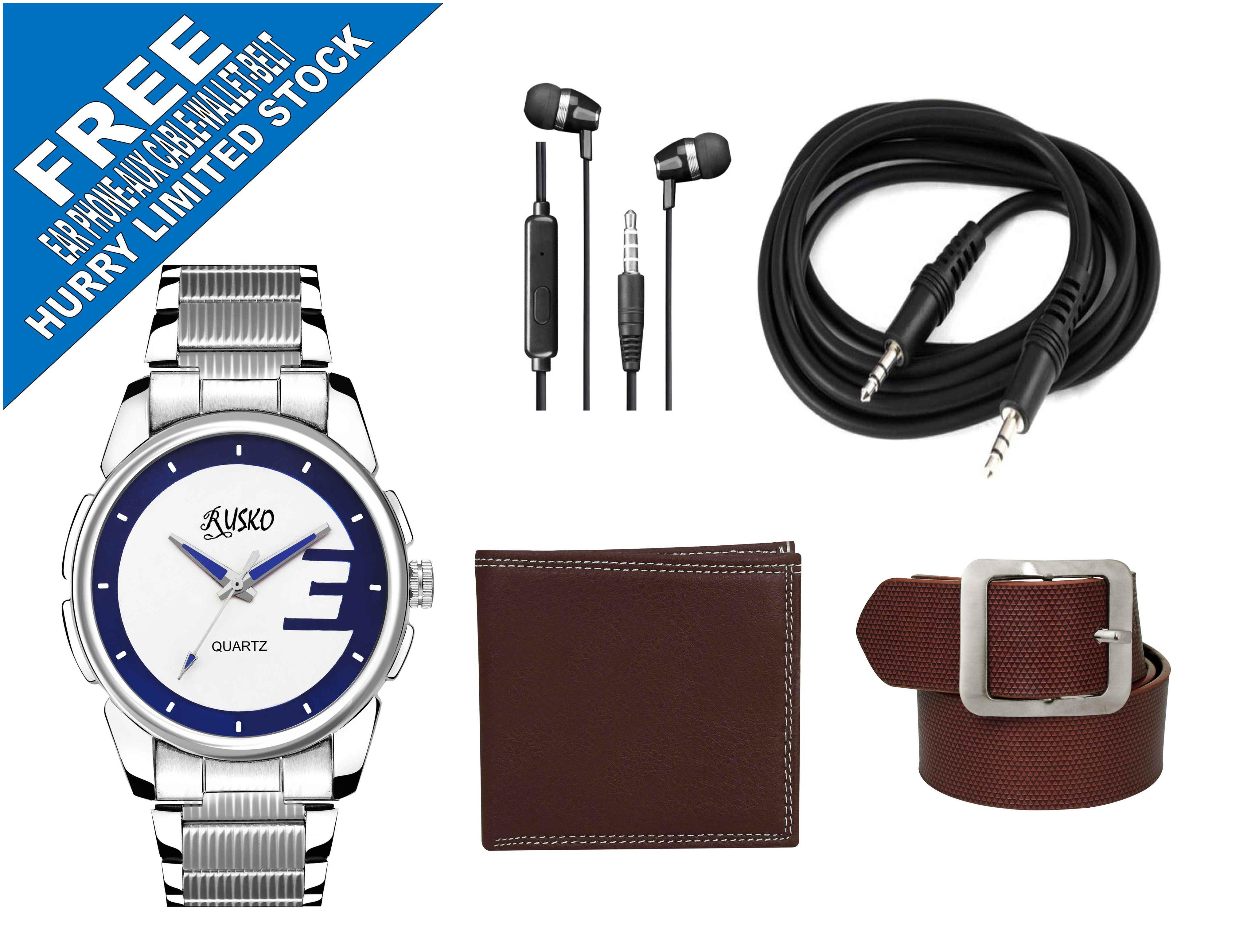Rusko Men's Analog Watch with Free Combo of Men's Wallet+ Men's Belt+ Aux Cable+ Ear Phone