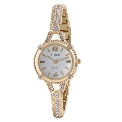 Timer Golden Round Analog Wrist Watch