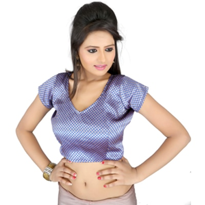 Aaina Blue Brocade Unstitched Blouse