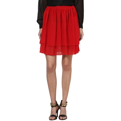 Besiva High Waist Two Layered Red Skirt