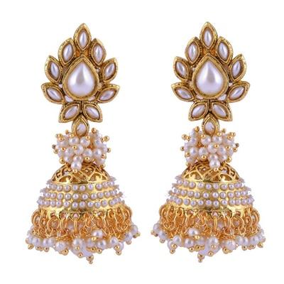 Adwitiya Collection Pearl Jhumki With Fine Cutting