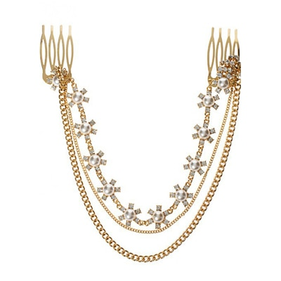 Fayon Designer Modern Golden Hair Comb With Chains And Pearl Layer Headgear