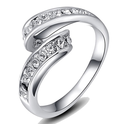 Kaizer Stunning 18K White Gold Plated Ring