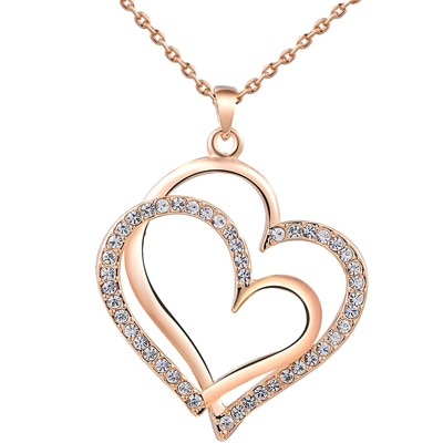 Kaizer Jewelry Double Heart Zest 18K Rose Gold Plated Pendant