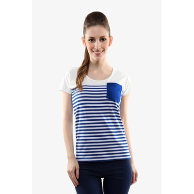Miss Chase Blue And White Jersey Top