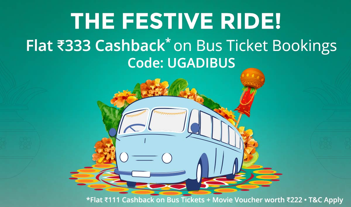 Bus Tickets   Flat Rs 333 Cashback
