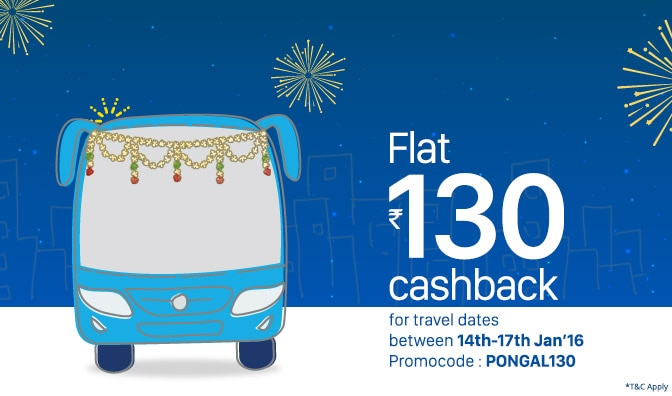 Flat Rs 130 Cashback on Bus Tickets