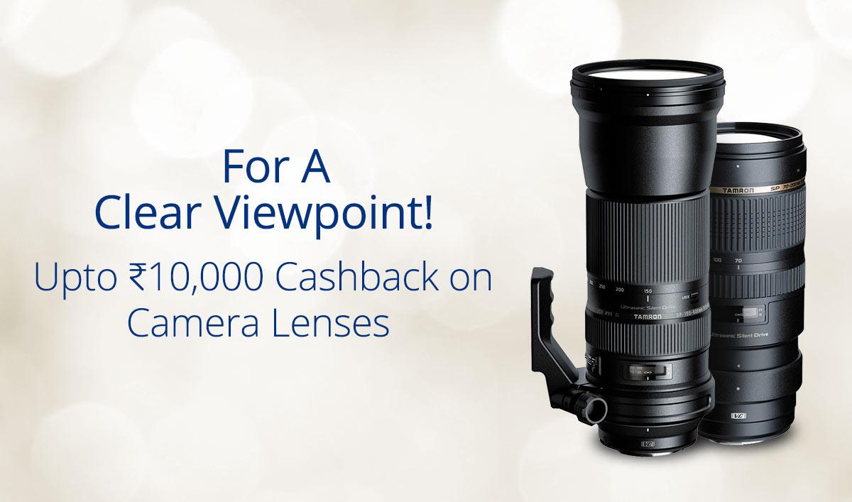 Upto Rs.10000 Cashback on Camera Lenses