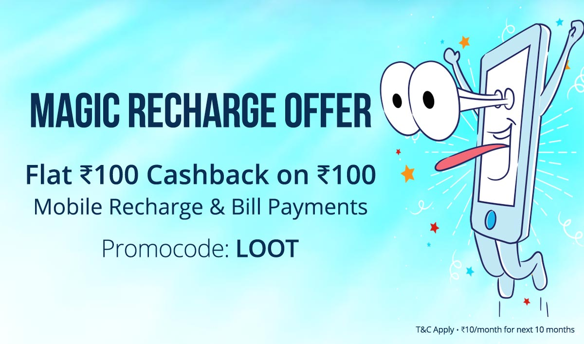 Recharge | Flat Rs 100 Cashback