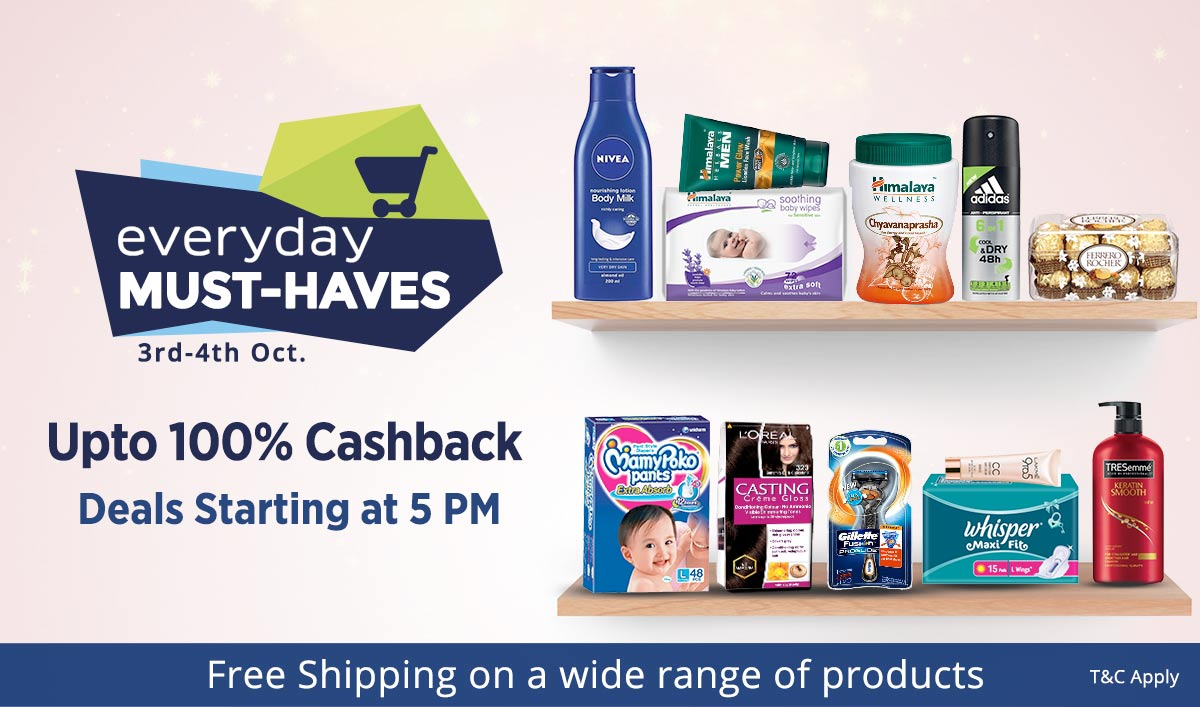 Everyday Must-Haves | Upto 100% Cashback