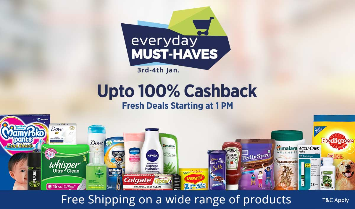 Everyday Must Haves | Upto 100% Cashback